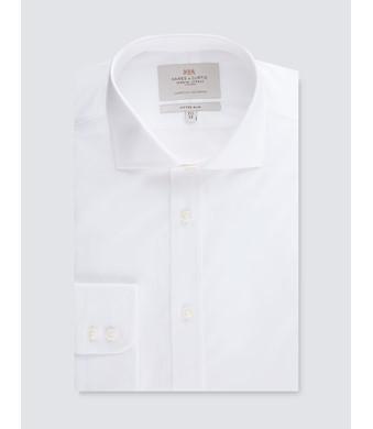 Men's Formal White Poplin Fitted Slim Shirt - Windsor Collar - Single Cuff - Easy Iron