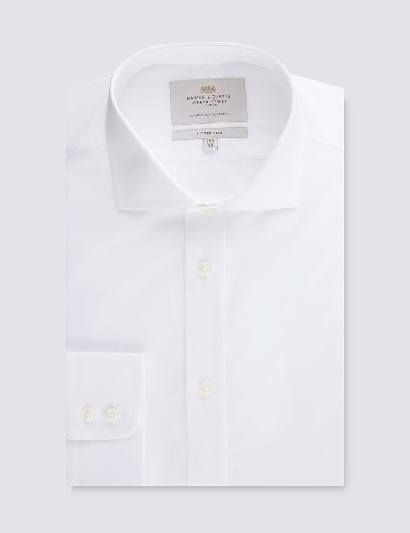 Men's Formal White Poplin Fitted Slim Shirt - Windsor Collar - Single Cuff - Easy Iron