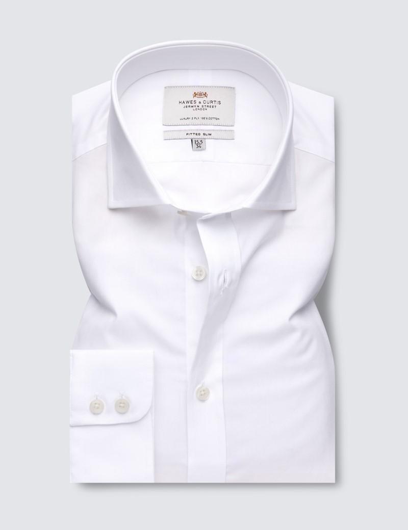 Men's Business Formal White Poplin Fitted Slim Dress Shirt - Windsor Collar - Single Cuff - Easy Iron