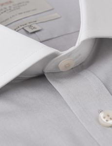 Men's Dress Grey Fine Twill Fitted Slim Fit Shirt - French Cuff - Windsor Collar - Easy Iron