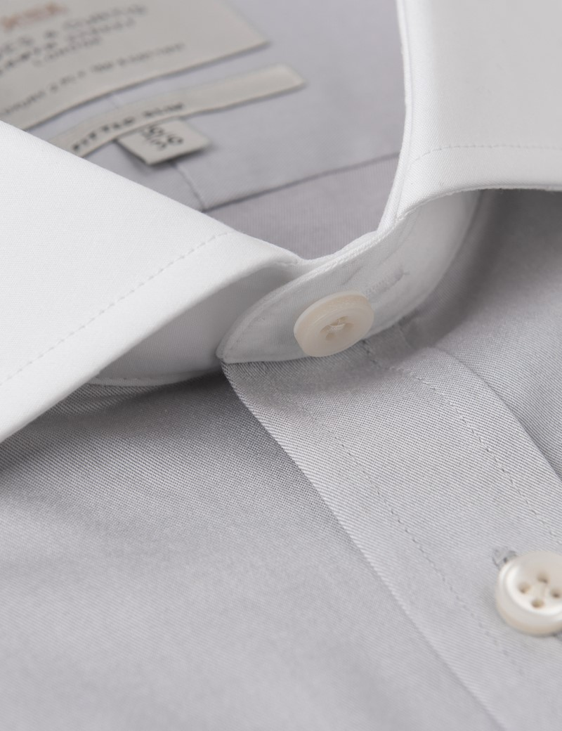 Men's Formal Grey Fine Twill Fitted Slim Fit Shirt - Double Cuff - Windsor Collar - Easy Iron