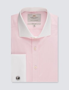 Businesshemd – Fitted Slim Fit – Manschetten – rosa mit Winchesterkragen