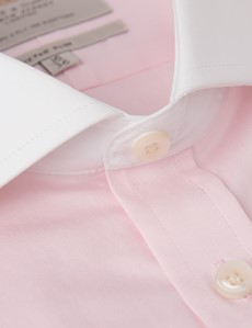 Men's Dress Pink Fine Twill Fitted Slim Fit Shirt - French Cuff - Windsor Collar - Easy Iron