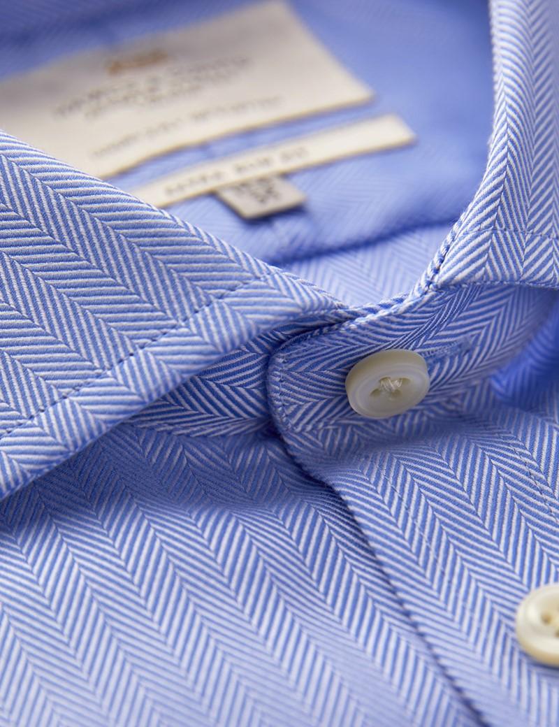 Men's Business Blue Herringbone Fitted Slim Shirt - Windsor Collar - Single Cuff - Easy Iron