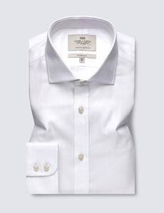 Men's Formal White Herringbone Fitted Slim Shirt - Windsor Collar - Single Cuff - Easy Iron