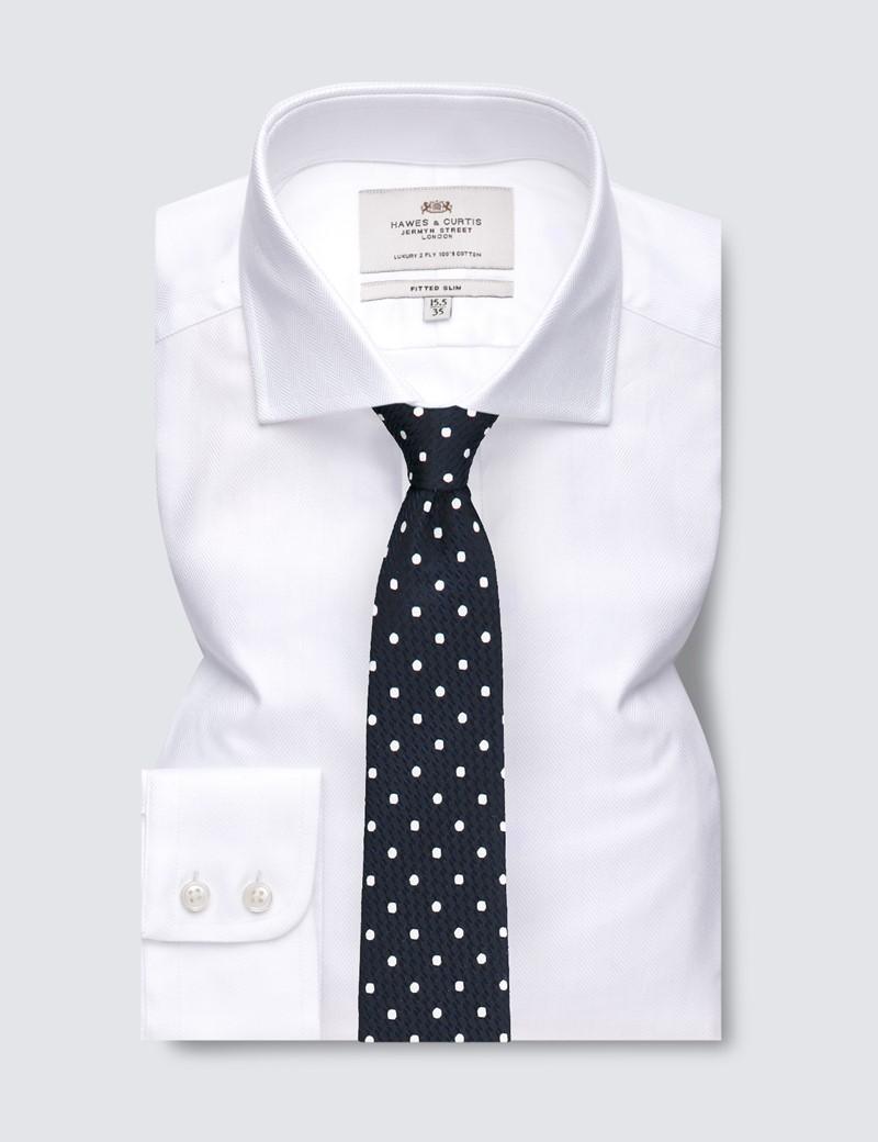 Men's Business White Herringbone Fitted Slim Shirt - Windsor Collar - Single Cuff - Easy Iron