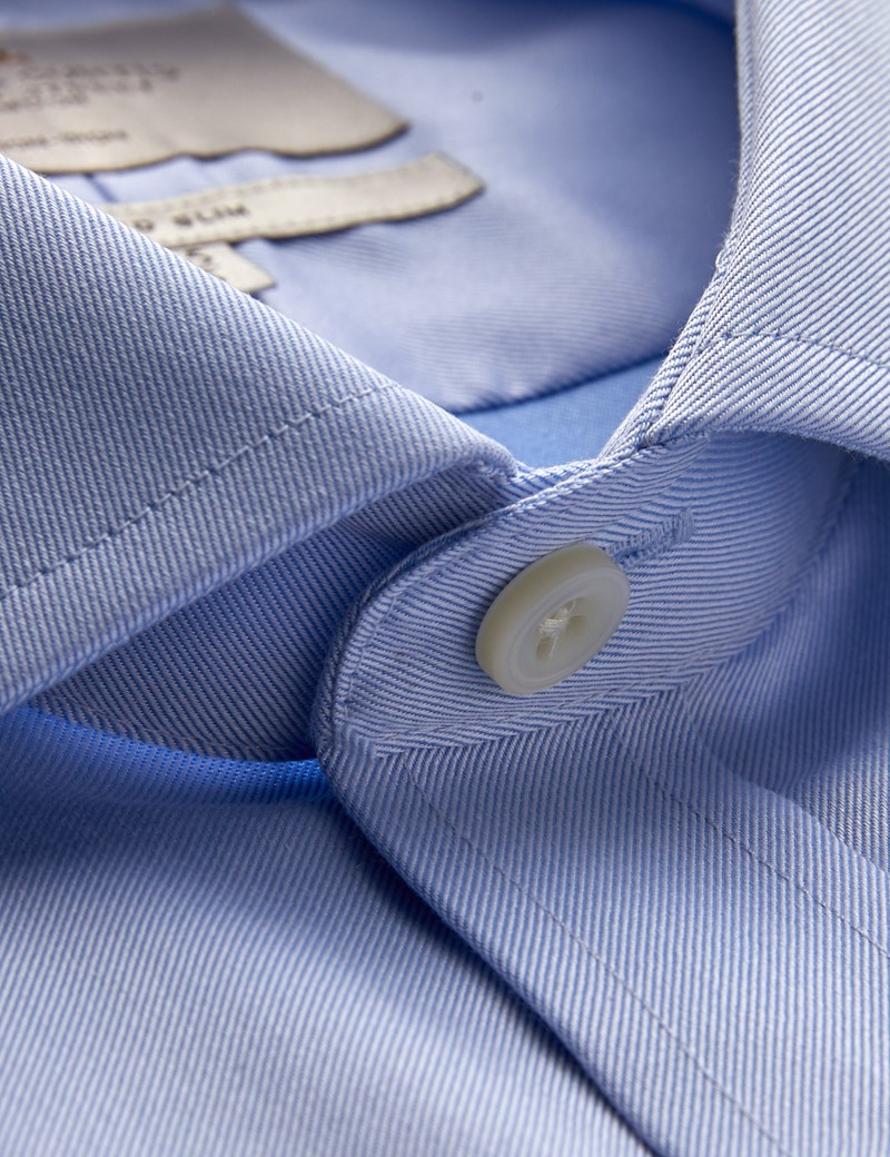 Men's Dress Blue Twill Fitted Slim Shirt - Windsor Collar - Single Cuff - Non Iron