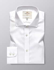 Men's Business White Twill Fitted Slim Shirt - Windsor Collar - Single Cuff - Non Iron