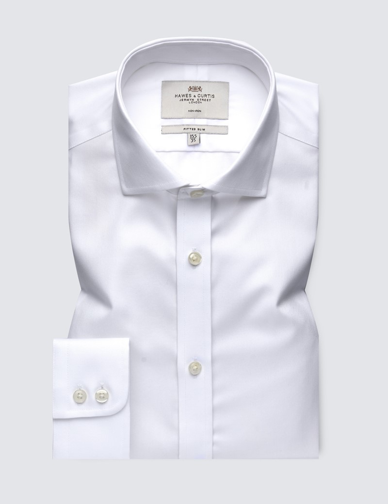 Men's Dress White Twill Fitted Slim Shirt - Windsor Collar - Single Cuff - Non Iron