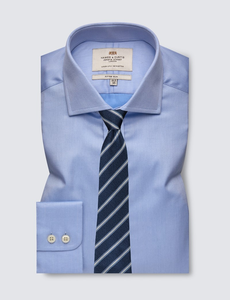 Men's Dress Blue Fitted Slim Shirt - Windsor Collar - Single Cuff - Easy Iron
