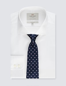 Easy Iron White Pique Fitted Slim Shirt - Windsor Collar