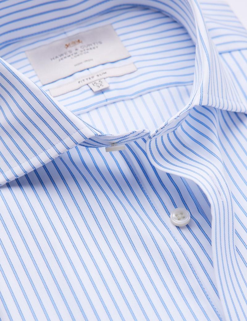 Non Iron Blue & White Stripe Fitted Slim Shirt - Full Cutaway Collar - Single Cuffs