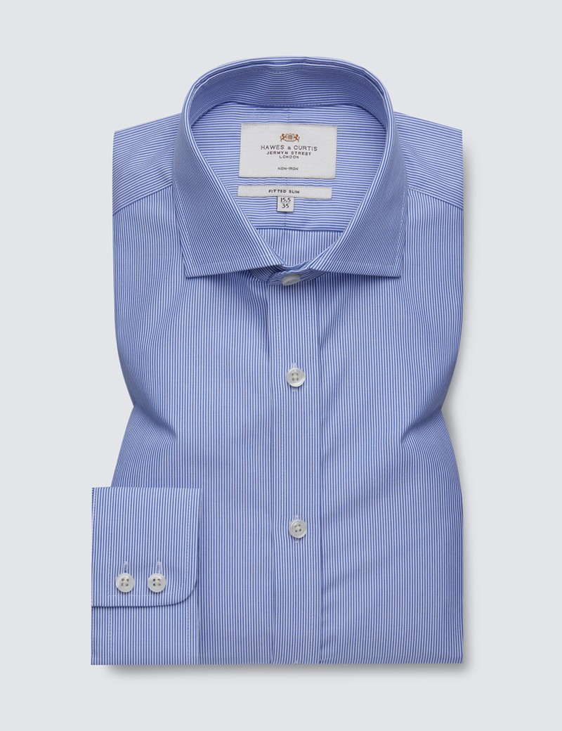 Men's Dress Blue & White Fine Stripe Fitted Slim Shirt - Windsor Collar - Single Cuff - Non Iron