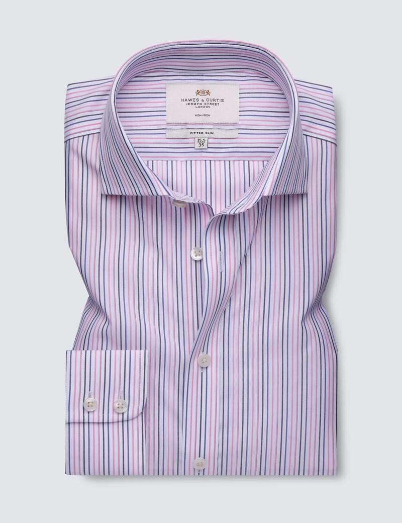 Men's Business Pink & Blue Multi Stripe Fitted Slim Shirt - Windsor Collar - Single Cuff - Non Iron