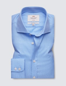 Non Iron Blue & White Dogstooth Fitted Slim Shirt - Windsor Collar - Single Cuffs