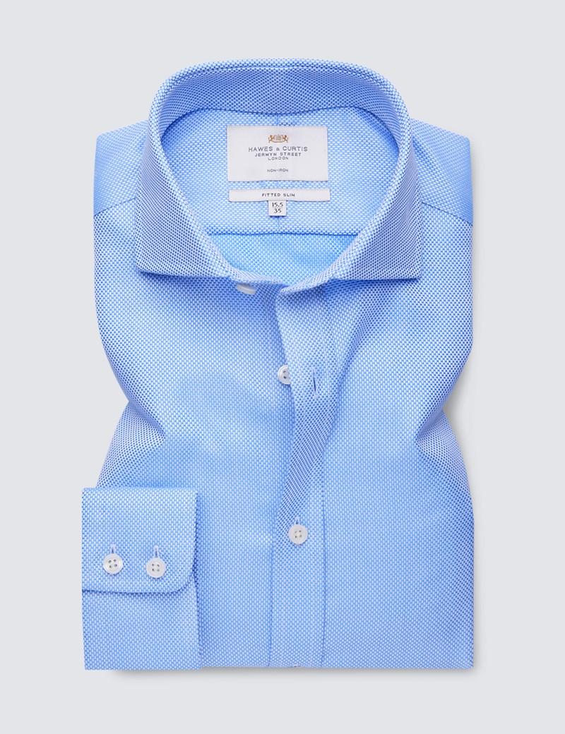 Men's Formal Blue Fabric Interest Fitted Slim Shirt - Windsor Collar - Single Cuff - Non Iron