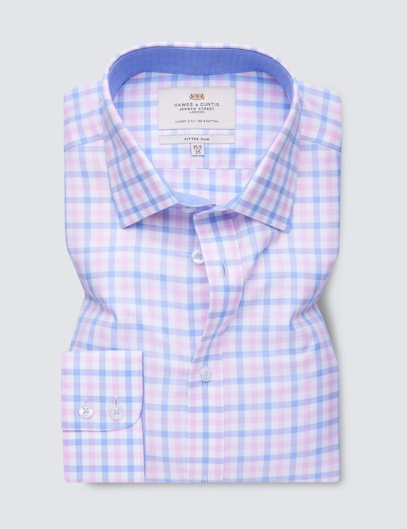 Easy Iron Pink & Blue Multi Check Fitted Slim Fit Shirt with Contrast Detail