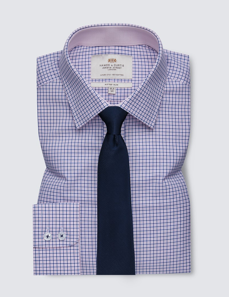 Men's Formal Blue & White Multi Check Fitted Slim Shirt with Contrast Detail - Single Cuff - Easy Iron