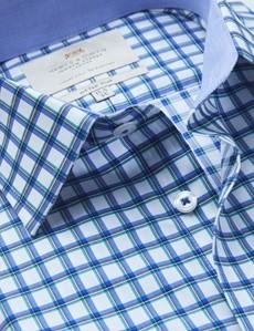 Bügelleichtes Businesshemd – Fitted Slim Fit – Kentkragen – blau-grün Gitter-Karo
