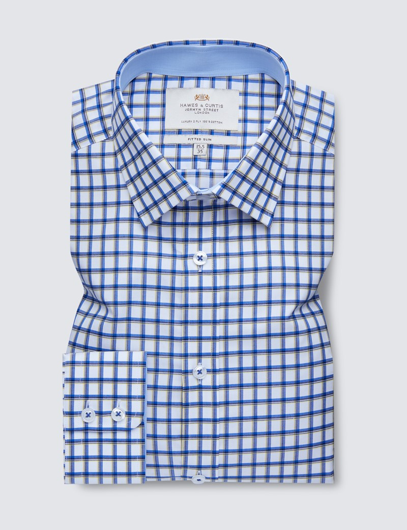 Easy Iron Yellow & Blue Multi Check Fitted Slim Shirt - Contrast Detail