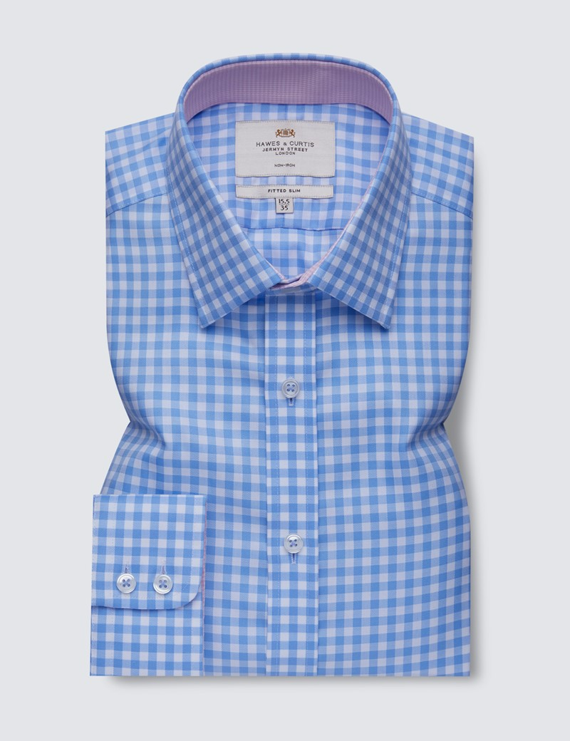 Non Iron Blue & White Large Gingham Check Fitted Slim Shirt - Semi Cutaway Collar