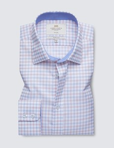 Non Iron Red & Navy Multi Check Fitted Slim Shirt - Contrast Detail