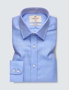 Men's Formal Plain Blue Fitted Slim Shirt - Single Cuff - Non Iron