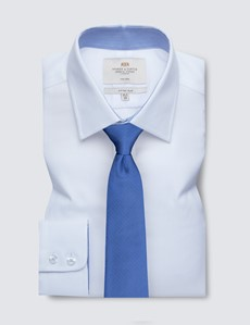 Non Iron White Fabric Interest Fitted Slim Shirt - Contrast Detail