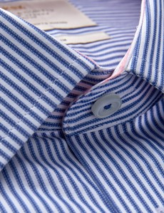 Men's Dress Blue & White Weekender Stripe Fitted Slim Shirt - Single Cuff