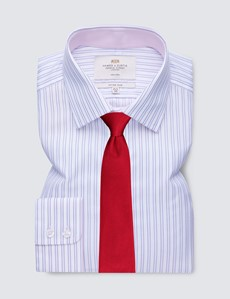Men's Business Pink & White Stripe Fitted Slim Shirt with Contrast Detail - Single Cuff - Non Iron