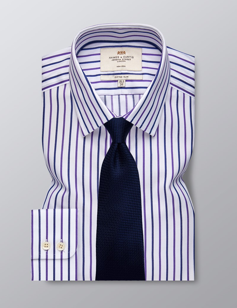 Men's Business Purple & Navy Stripe Fitted Slim Shirt - Single Cuff - Non Iron