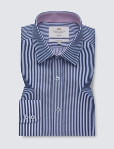 Men's Business Navy & White Bengal Stripe Fitted Slim Shirt with Contrast Detail - Single Cuff - Non Iron