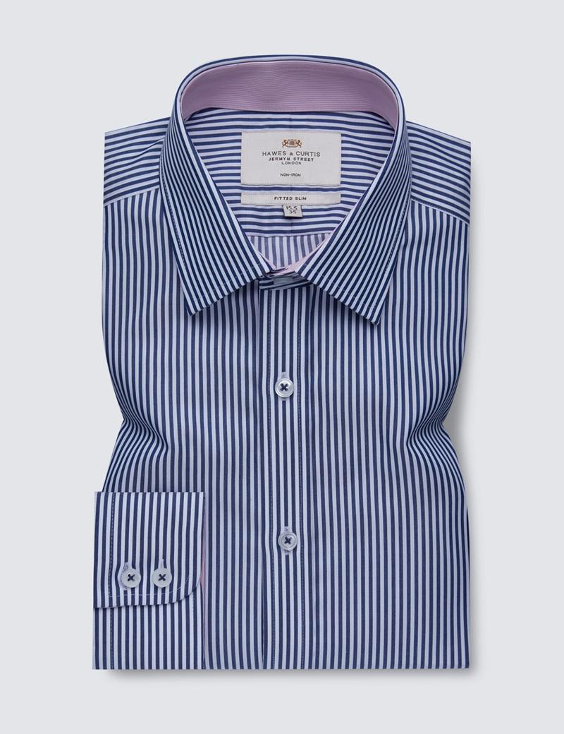 Bügelfreies Businesshemd – Fitted Slim Fit – Kentkragen – navy weiß Bengal Streifen