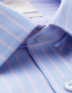 Men's Formal Blue & Pink Multi Stripe Fitted Slim Shirt with Contrast Detail - Single Cuff - Non Iron