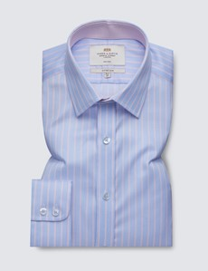 Men's Dress Blue & Pink Multi Stripe Fitted Slim Shirt with Contrast Detail - Single Cuff - Non Iron