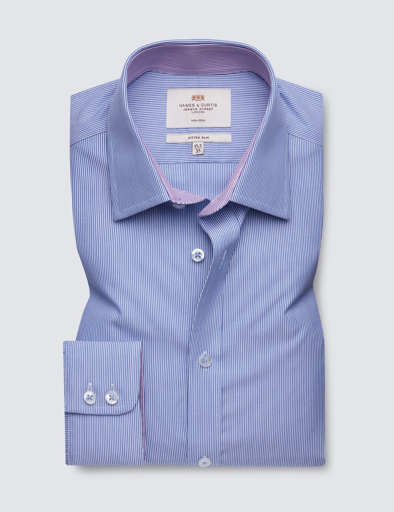 Non Iron Blue & White Fine Stripe Fitted Slim Shirt - Contrast Detail