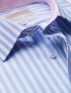 Non Iron Blue & White Bold Stripe Fitted Slim Shirt - Contrast Detail