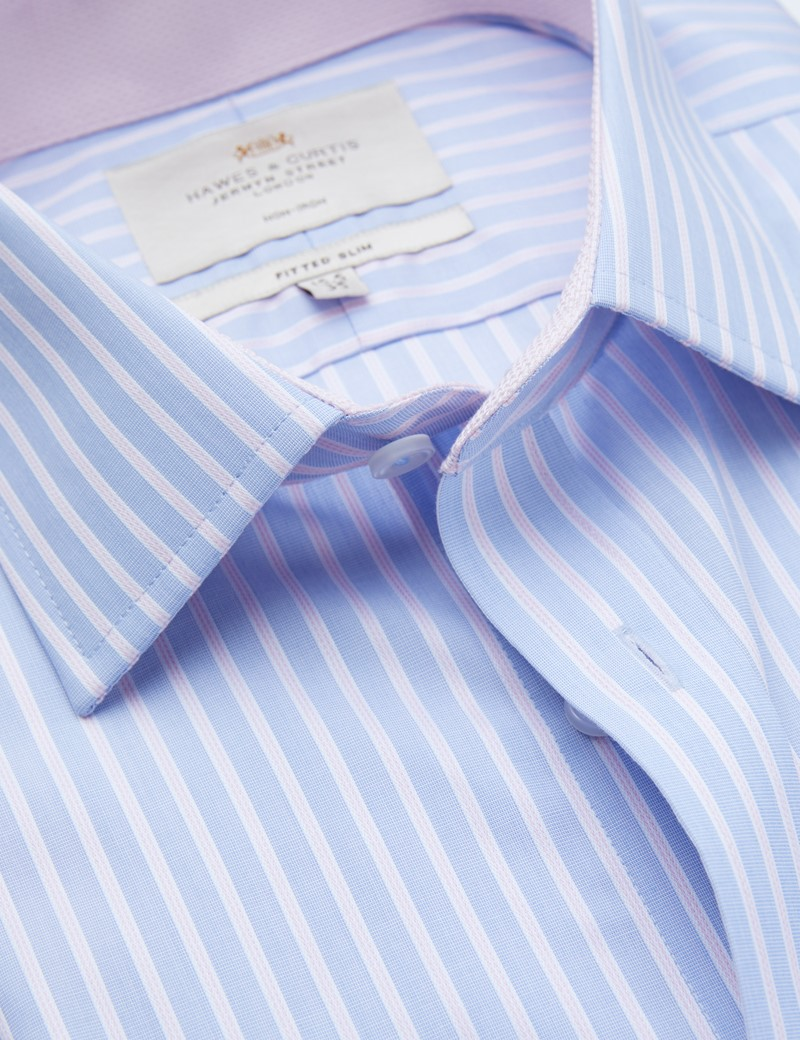 Non Iron Blue & Pink Multi Stripe Fitted Slim Shirt - Contrast Detail