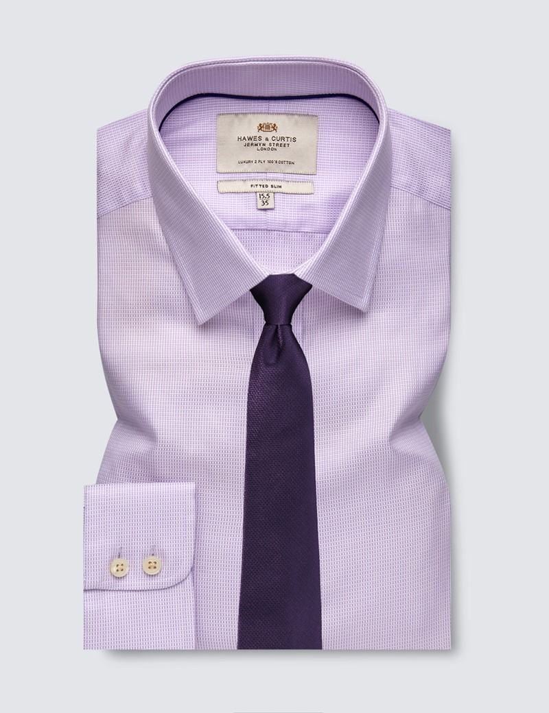 Men's Dress Lilac Weekender Dobby Fitted Slim Shirt - Single Cuff