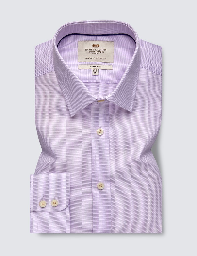 Men's Business Lilac Weekender Dobby Fitted Slim Shirt - Single Cuff