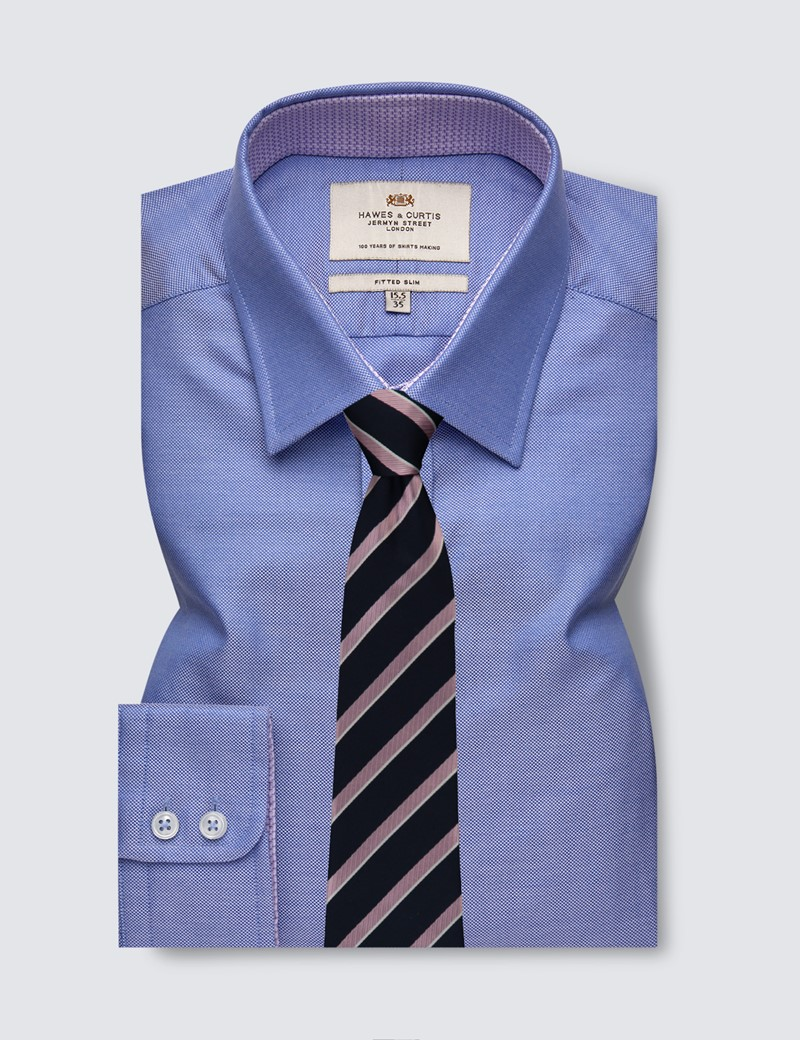 Businesshemd - Fitted Slim Fit - Kentkragen - blau Dobby