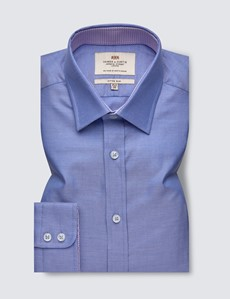 Men's Formal Blue Weekender Dobby Fitted Slim Shirt - Single Cuff