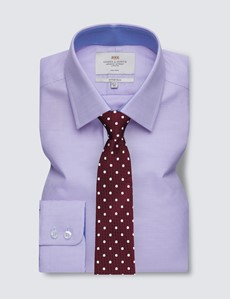 Easy Iron Lilac & White Fabric Interest Fitted Slim Shirt - Contrast Detail
