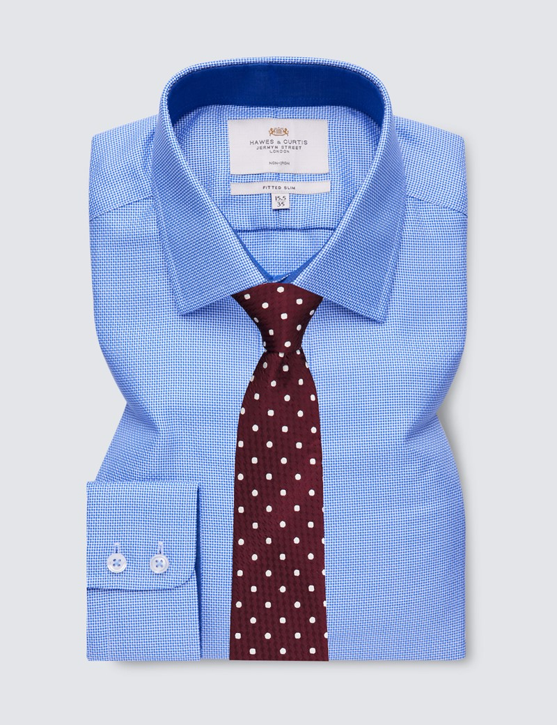 Non Iron Blue & White Fabric Interest Fitted Slim Shirt with Single Cuffs and Contrast Details