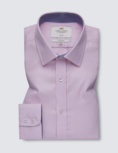 Non Iron Pink & White Dogstooth Fitted Slim Shirt - Semi Cutaway Collar
