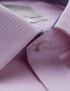Bügelfreies Businesshemd – Fitted Slim Fit – Kentkragen – rosa weiß Hahnentritt