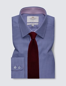 Men's Formal Navy & White Dogstooth Fitted Slim Shirt with Contrast Detail - Single Cuff - Non Iron