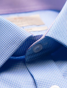Men's Dress Blue & White Dogstooth Fitted Slim Shirt with Contrast Detail - Single Cuff - Non Iron