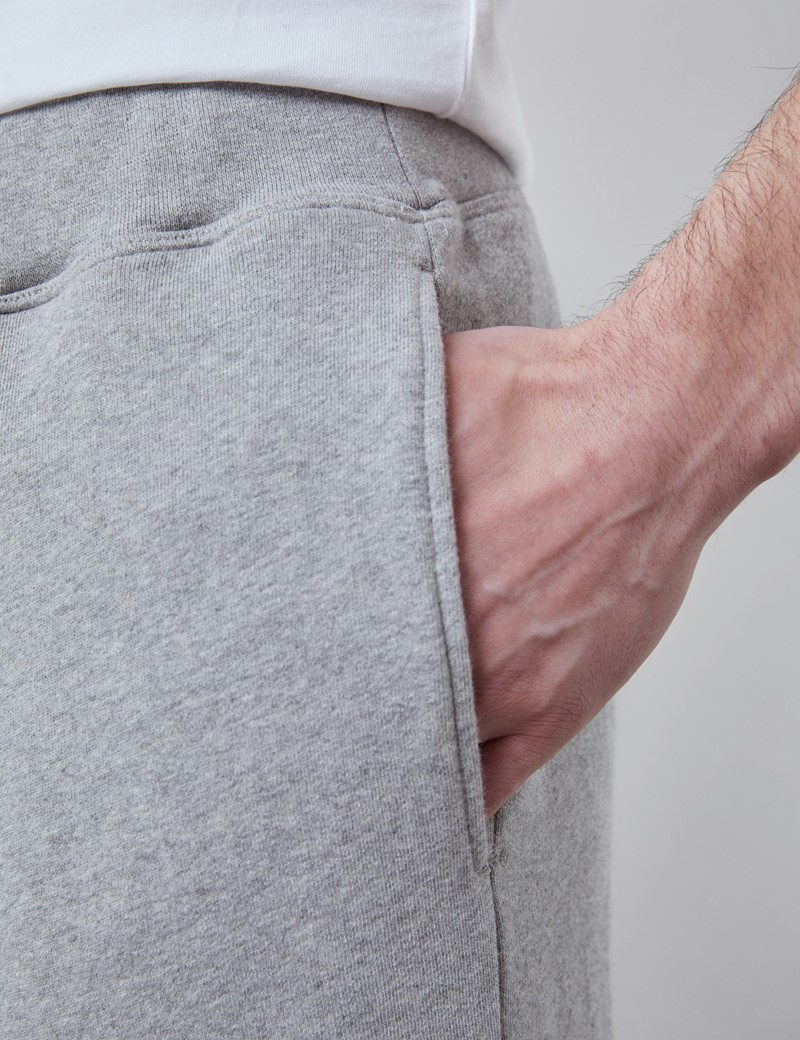 Light Grey Marl Garment Washed Organic Cotton Sweatpants