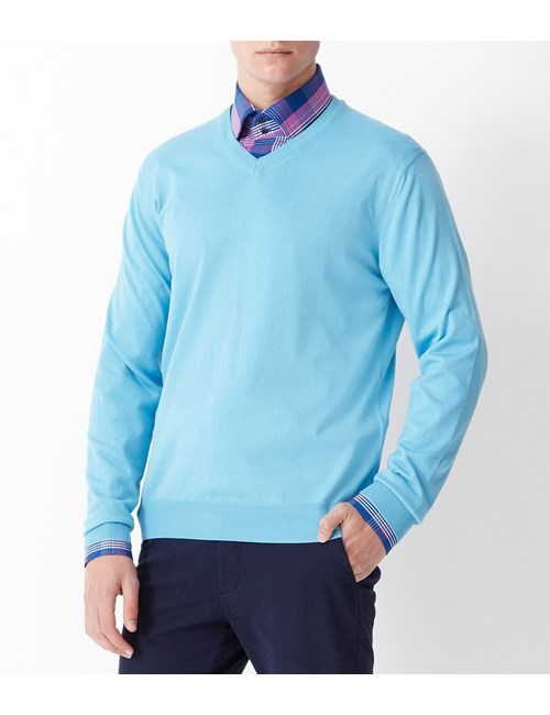 Men's Lt Blue Garment Dye Pima Cotton V Neck Jumper